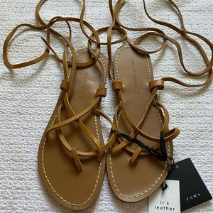 Zara wrap around real leather sandals